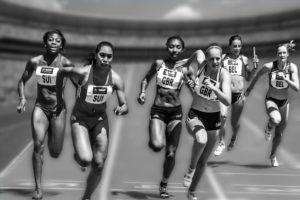 women running relay race